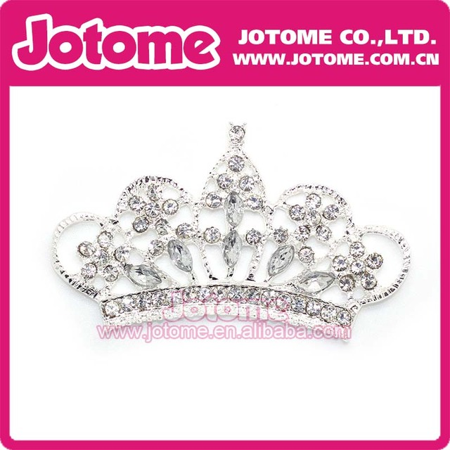 100pcs/lot / Clear Crown Rhinestone Princess Brooch for Baby Head Band Decor