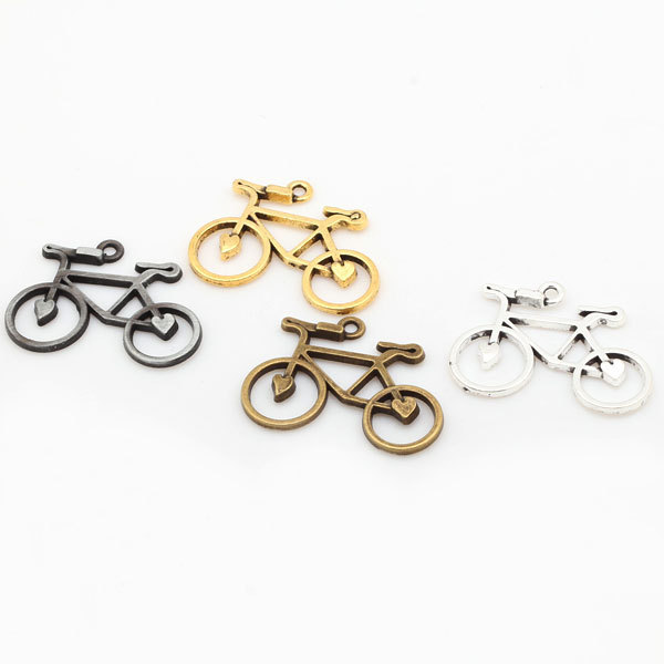 Four Color Metal Zinc Alloy Bicycle Charms Diy Sports Pendant Charms for Jewelry Making 30pcs/lot 23*30mm 7021