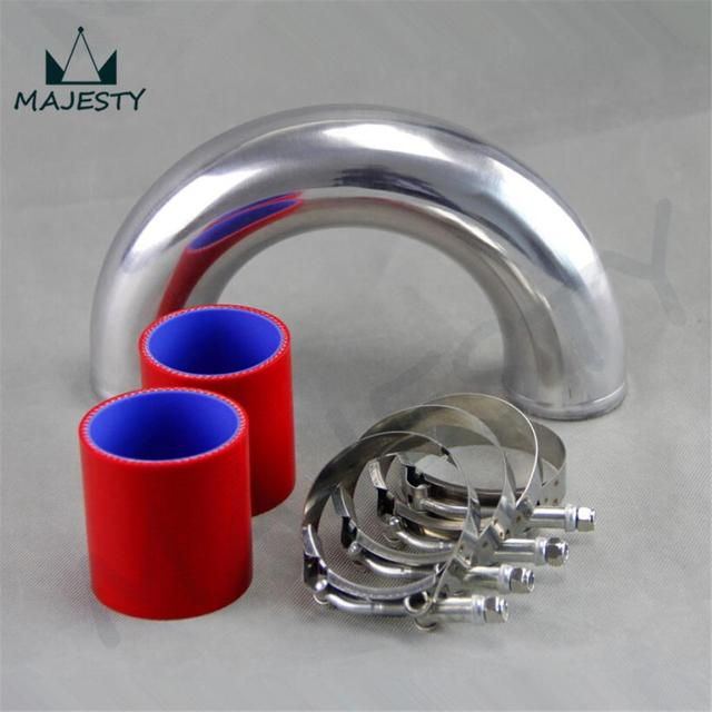 """180 degree 63mm 2.5"""" Aluminum Turbo Intercooler tube Pipe +silicon hose+T clamp RED"""