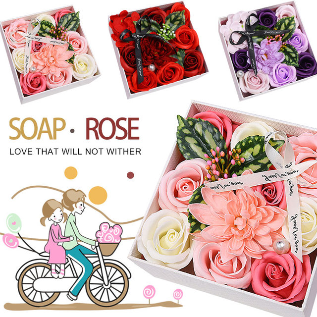 Soft Simulation Petals Soap Flower Home Decoration Holiday Creative Gift Box Rose Carnation Hydrangea Decoration Flower