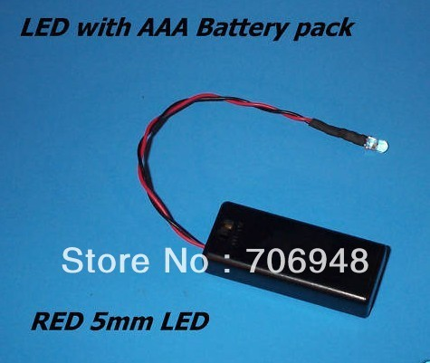 MIX 5pcs RED 5mm LED Diode WITH AAA BATTERY PACK & SWITCH