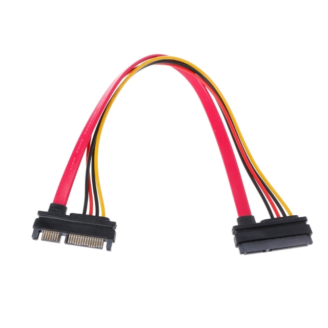 New 30cm 22Pin(15+7) Male To Female SATA Serial ATA Data Power Cable Extension Cord hot