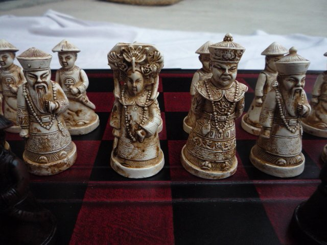 """Collection old bone carving chess, """"Emperor"""", Free Shipping"""