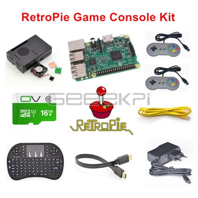 GeeekPi Raspberry Pi 3 Model B 16GB RetroPie Game Console Kit with 2pcs USB SNES Gamepads Controllers
