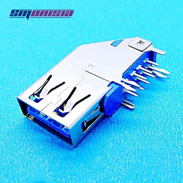 1000pcs AF USB 3.0 90degrees Interface Long USB Female Socket High Speed Jack without Crimping