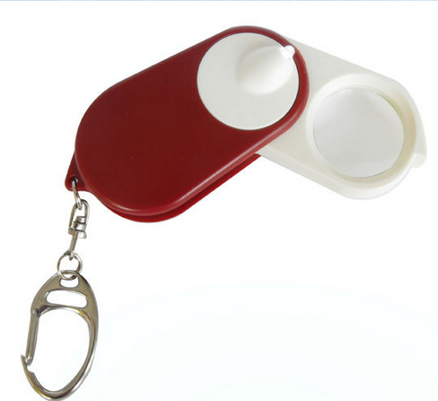 5x Mini Size Magnifier Promotion Gift Magnifying Glass with LED White Light and Key Chain CY-010