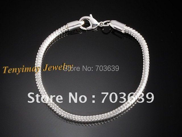 Free Shipping 25pcs/Lot Silver Plated Snake Chain Bracelets 20cm Length With Lobster Clasp For DIY