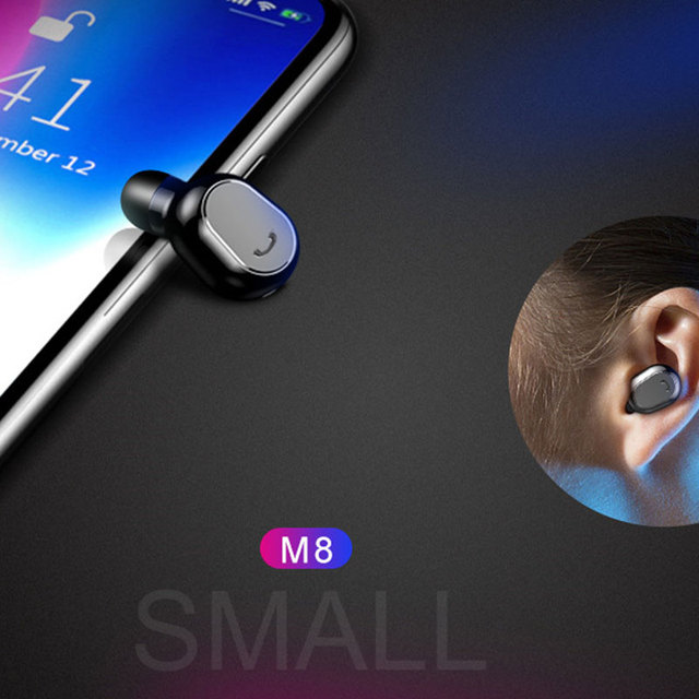 M8 Mini Wireless Earphones Single-Ear Bluetooth V4.1 Earbud Headsets Bass Stereo with Mic