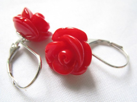 Nobility Pretty  Red Coral 10mm Rose Beads Leverback Earring Earrings Wonderful Nobility Fine Wedding Jewelry Lucky Women