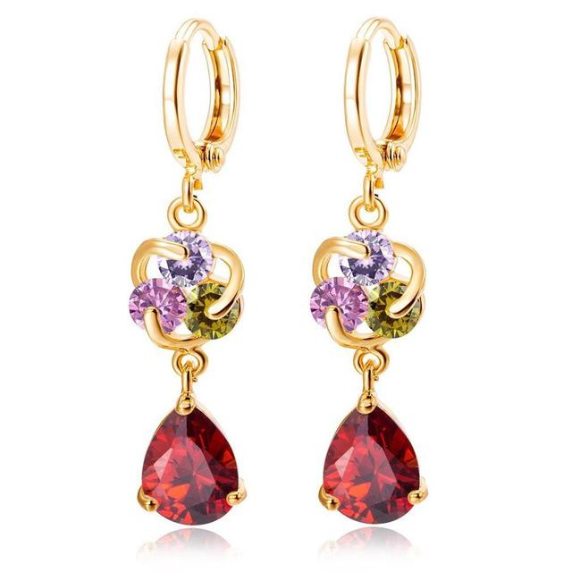 MxGxFam  NEW Drop Water Earrings for Women's Gift 18 k Yellow Gold Color  Clear / Red / Purple / Pink with AAA+ Cubic Zricon