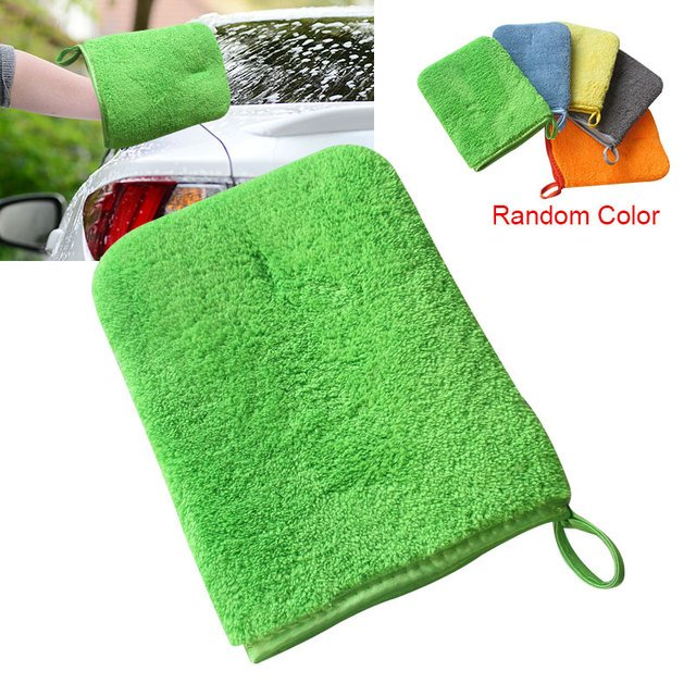 Vehemo Cars Double-Sided Auto Cleaning Glove Thick Car Washing Glove Washing Glove Univrsal Soft Waxing Color Random