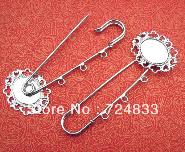 Blank Brooch Bases Oval Lace Pad with 3 Loops Kilt Pins Clips Brooches Pins Settings Findings Rhodium tone Plated Wholesale