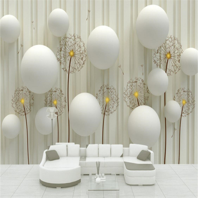 beibehang papel de parede Custom Photo Wallpaper 3D Mural Wall Sticker White Ball Dandelion Background Wall wallpaper