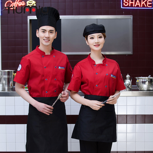 New Summer Wholesale Women Men Short-sleeve Double Breasted Embroidery Kitchen Restaurant Bakery Coffee Shop Chef Jacket Uniform