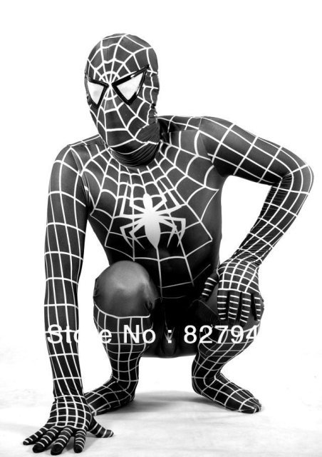 Black Lycra Spandex Spiderman Tights Hero Zentai Catsuit Costumes for party