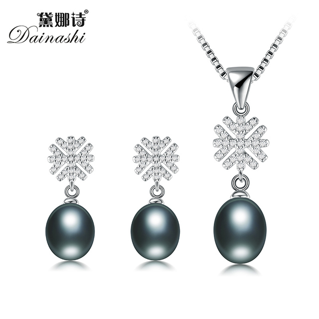 Dainashi 100%Genuine Natural Freshwater Pearl Jewelry Sets Shining Snowflakes Rice Pearl Pendant and pearl Earring Free Shipping