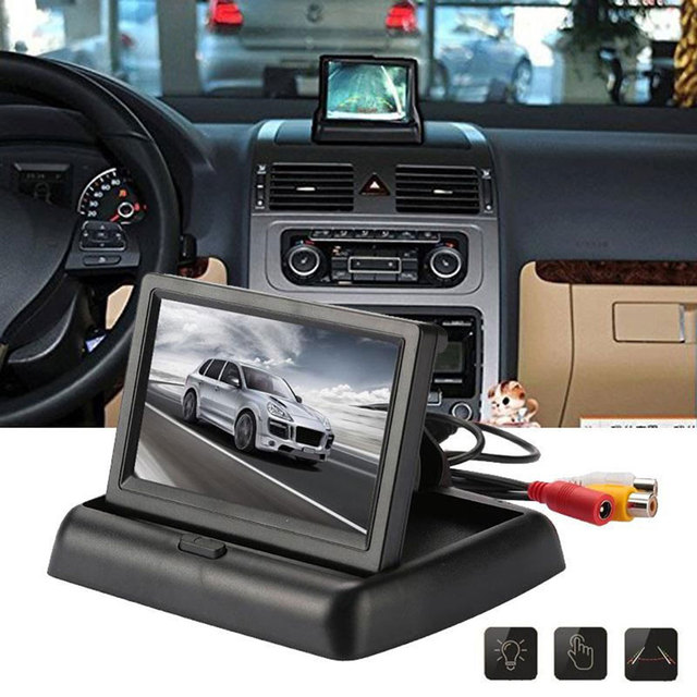 Reverse Monitor Car Kit for 12V/24V Car Automobile Foldable Car Electronics Parking Rearview 4.3 Inches NTSC PAL LCD Screen