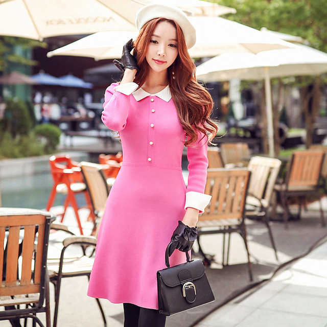 Original 2018 Brand Autumn Winter Knitted Dress for Women Plus Size Brief Fashion Slim Sweater Dresses Women Wholesale