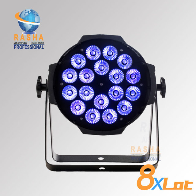 8X LOT Rasha Quad 4in1 RGBW/RGBA 18pcs*10 Super Bright  LED Par Light, Quad LED Par Can,Stage Par Light With DMX in&out,Power