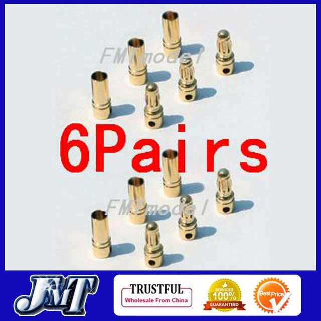 6Pairs Thick Gold Plated 3.5mm Bullet Connector ( banana plug ) For ESC battery