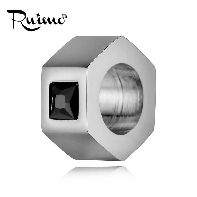 RUIMO DIY Bracelet Beads 316L Stainless Steel Beads For Jewelry Making 6mm 8mm Big Hole Plating Gold Blue Bead CZ Bead