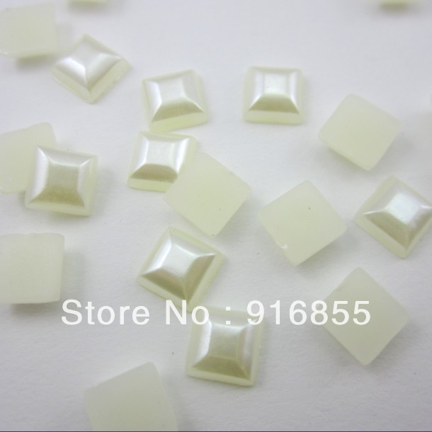 Free shipping 2000pcs/lot 6mm Square shape exquisite craft flatback imitation pearl beads