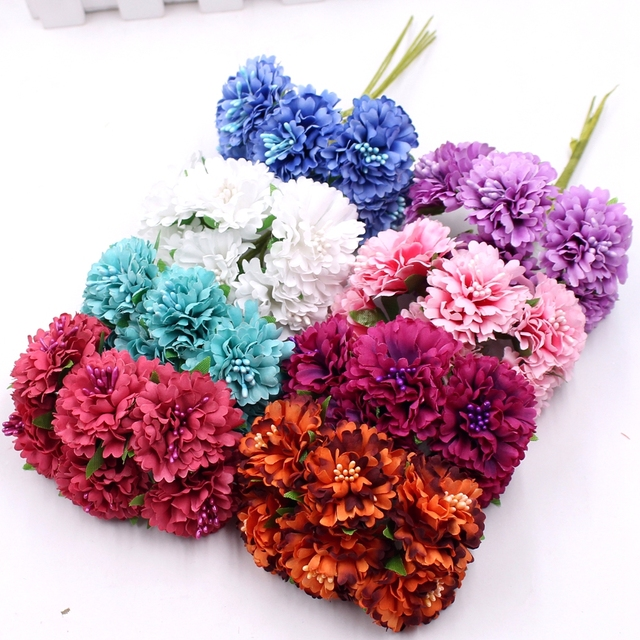 60pcs 3.5cm Silk Artificial Chrysanthemum Daisy Bouquet diy Wreath Gift Boxes Scrapbooking Wedding Decorative Artificial Flower