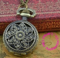 wholesale buyer price good quality fashion vintage retro classic new bronze mini flower quartz pocket watch necklace