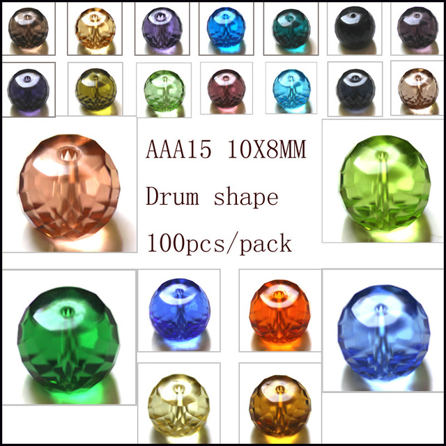 100Pcs Crystal Glass Column Tube Spacer Beads Fit European Charms Bracelets Jewelry Diy Making 10x8mm AAA Grade