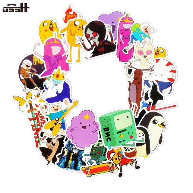25 Pcs American Drama Adventure Time Funny Sticker Decal For Car Laptop Luggage Bicycle Motorcycle Notebook Waterproof Stickers
