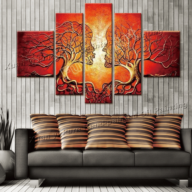 100% Hand Painted Free Shipping Red Tree Couples Dance Abstract Landscape Oil Painting Canvas 5pcs/set