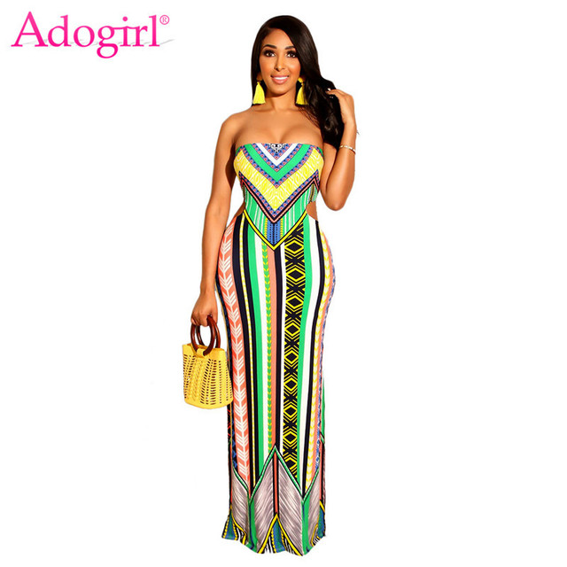 Adogirl Fashion Stripe Print Strapless Maxi Dress for Holiday Women Sexy Backless Bodycon Long Casual Dresses Summer Beach Wear