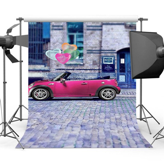 Mehofoto Street Background for Photography Pink Car Backdrop for Children Baby Photographers Photo Shoot CM-3436