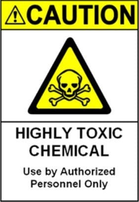 200pcs 15x20cm CAUTION HIGHLY TOXIC CHEMICAL worker safety reminder PVC sticker, durable waterproof, Item No. CA16