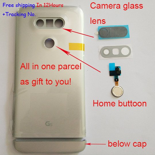 Original New Back Cover Back Battery Housing Door For LG G5 H850 H840+below cap+Home button+Camera Glass Lens In stock!