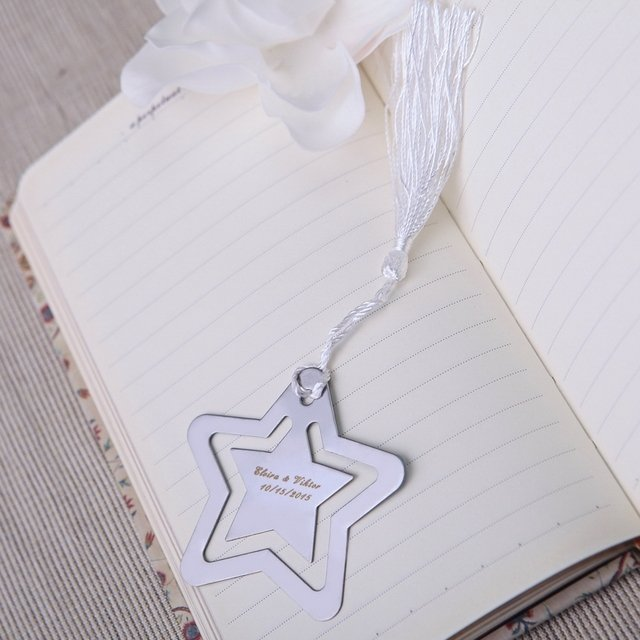 "32pcs/lot bulk sell personalized ""A Star "" Metal Bookmark Favor With White Silk Tassel  wedding favor baby shower favor SQ1015"