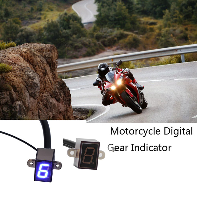 Blue LED Display Universal Mini Digital Gear Gauge Indicator Motorcycle Shift Lever Sensor Motorbike Accessories