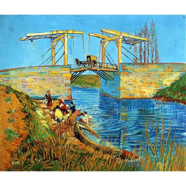 The Langlois Bridge at Arles with Women Washing by Vincent Van Gogh Reproduction oil painting Canvas art Handmade High quality