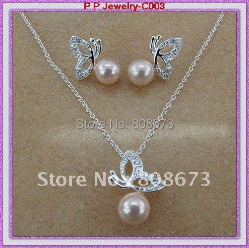 Silver Plated Beautiful Crystal And Pearl Butterfly Necklace And Earrings Jewelry Sets