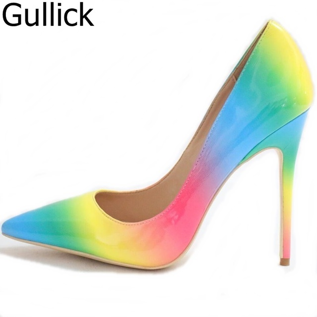 Real Photo Women Rainbow Color Pointed Toe Slip On Shallow Pumps Summer Fashion High Thin Heel Dress Shoes Free Shipping