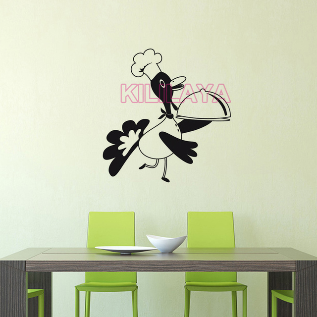 Funny Duck Cooker Vinyl Wall Stickers mural decal Poster For kitchen room removable Wall Art Home Decor House Decoration DD0464