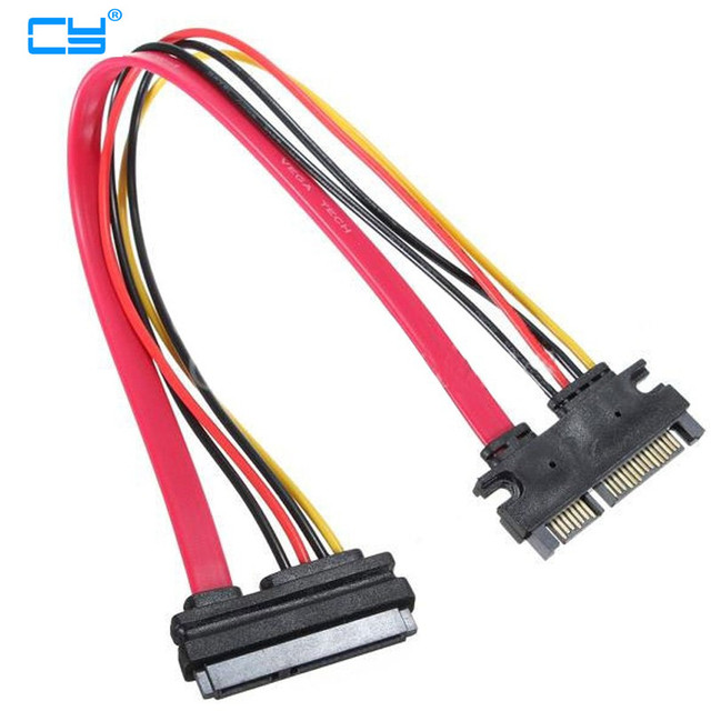 1PCS 30cm 22Pin SATA Cable Male to Female 7+15 Pin Serial ATA SATA Data Power Combo Extension Cable Connector Conterver