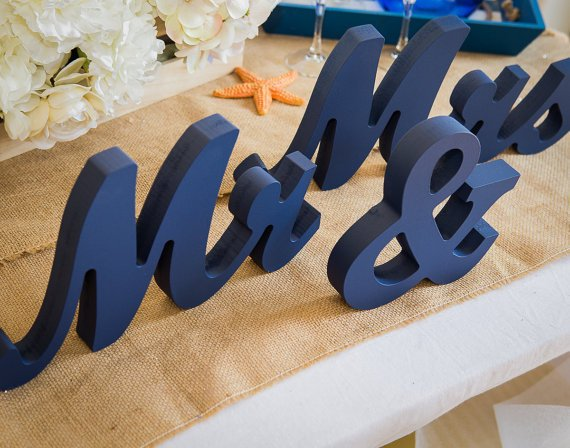 free shipping   Mr and Mrs Wedding Signs - Mr & Mrs Wooden Letters Glittered or Colorful Freestanding Script Signs