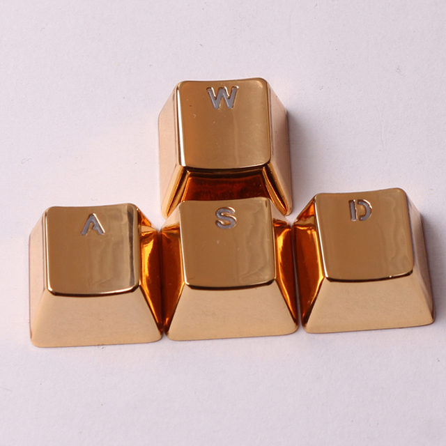 Metal Keycaps Backlit Golden/Silver WASD Keyset OEM Profile Cherry MX Key Caps For MX Switches Mechanical Gaming Keyboards