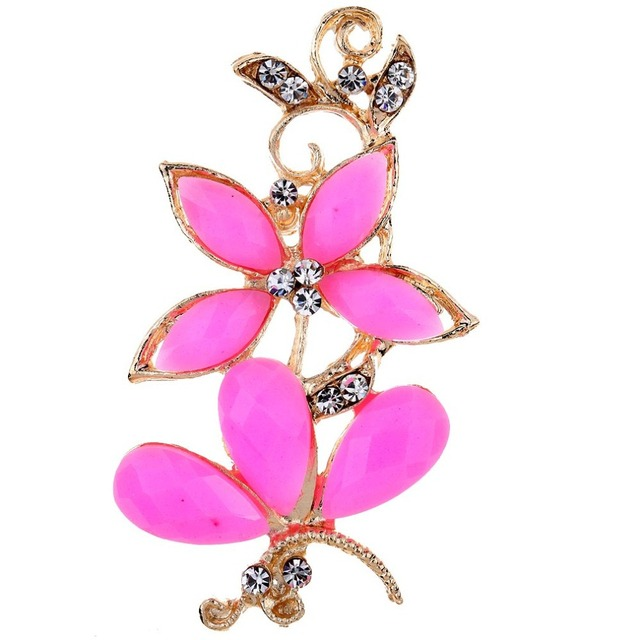Fashion Elegant Rose Gold Pink Flower And Butterfly With Rhinestone Crystal Brooches Bouquet For Wedding Women Pins