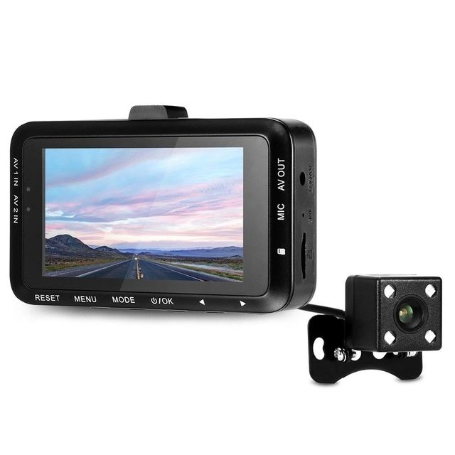Dual Camera 3 Inch LCD Screen Driving Recorder Waterproof Outdoor Video Recorder Car DVR Universal Night Vision