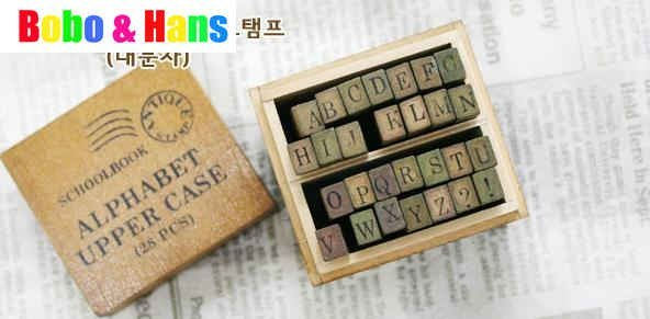 New cute schoolbook stamp / with wooden box / 28 pcs/set / uppercase & lowercase  / Scrapbooking Wholesale