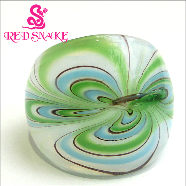 RED SNAKE Fashion Ring Handmade white grounding with green decorative patte drawing  Murano Glass Rings