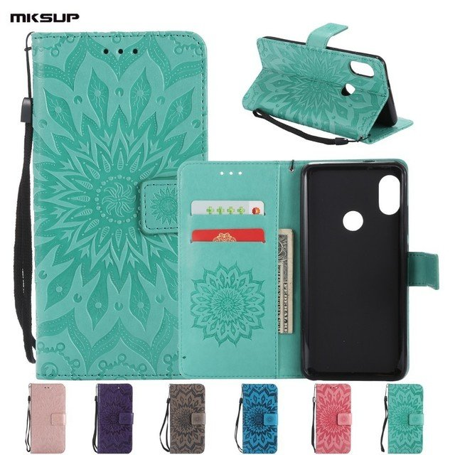 """For Xiaomi Redmi Note 5 Pro 5.99"""" Wallet Leather Case Sunflower Embossing Flip Stand Silicon Back Case For Xiaomi Note5 Ai Bags"""
