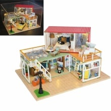 13841Z Container Home A DIY Dollhouse Kit 3D Japanese Style With Music Cover Light  for Christmas And Birthday Gift